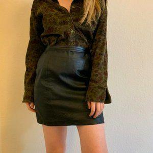 Vintage genuine leather mini skirt black
